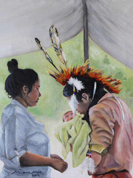"""Powwow Break"" Original Oil Painting"