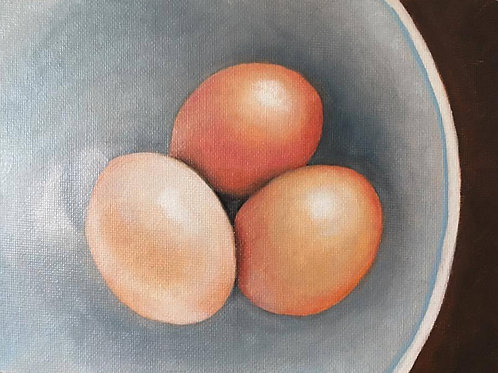 """""""3 Eggs"""" Original Oil Painting"""