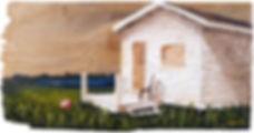 Oil painting of a seaside cottage landscape on reclaimed cedar shingle by Jamie Kaplowitz Gibbons