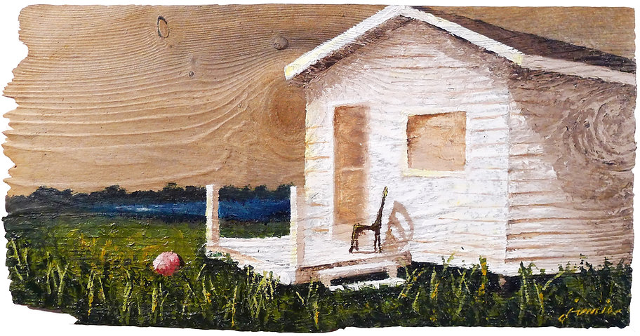 Oil painting of a seaside cottage landscape on reclaimed cedar shingle by Jamie Kaplowitz Gibbons