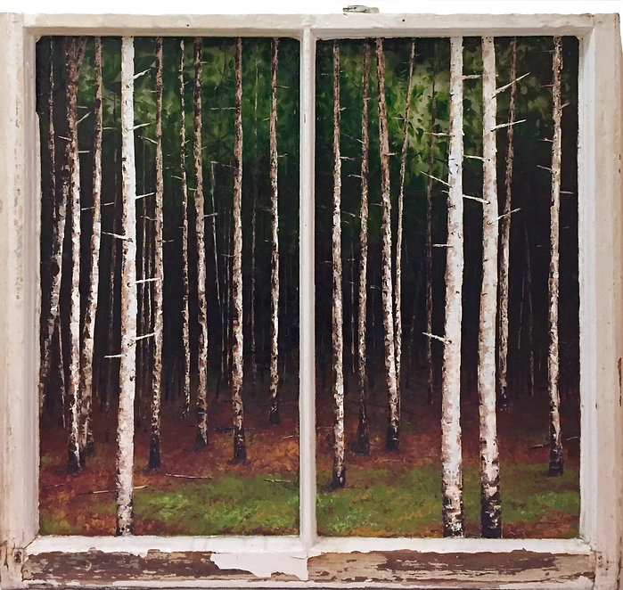 Oil painting of a woods landscape on reclaimed window by Jamie Kaplowitz Gibbons