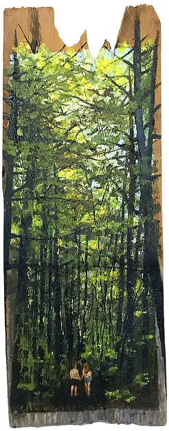 Oil painting of a woods landscape on reclaimed cedar shingle by Jamie Kaplowitz Gibbons