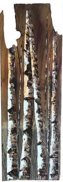Oil painting of a woods landscape on reclaimed cedar shingle by Jamie Kaplowitz Gibbons