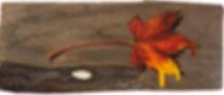 Oil painting of an autumn leaf on reclaimed cedar shingle by Jamie Kaplowitz Gibbons
