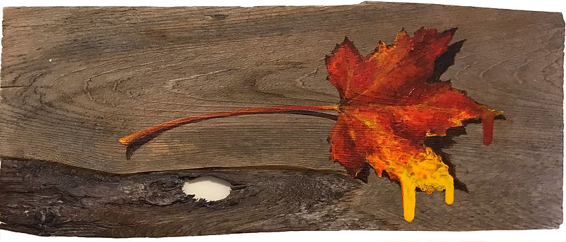 Oil painting of an autumn leaf on reclaimed cedar shingle by Jamie Kaplowitz Gibbons