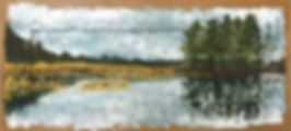 Oil painting of a lake landscape on reclaimed cabinet door by Jamie Kaplowitz Gibbons