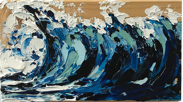 Oil painting of a wave within an ocean landscape on reclaimed wood by Jamie Kaplowitz Gibbons