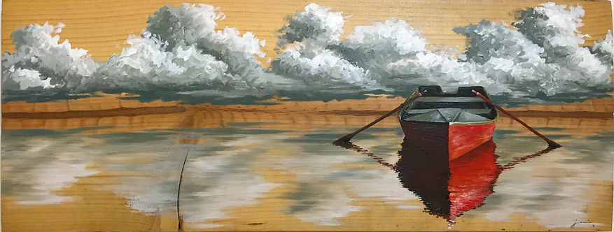 Oil painting of a rowboat reflected in a water landscape on reclaimed wood by Jamie Kaplowitz Gibbons