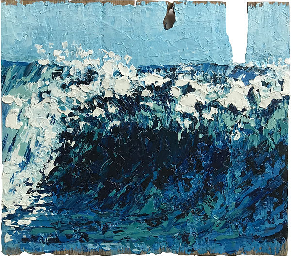 Oil painting of a wave within an ocean landscape on reclaimed cedar shingle by Jamie Kaplowitz Gibbons
