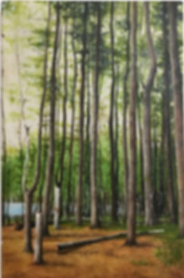 Oil painting of a woods landscape on reclaimed cabinet door by Jamie Kaplowitz Gibbons