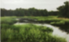 Oil painting of a marsh landscape on reclaimed cabinet door by Jamie Kaplowitz Gibbons