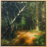 Oil painting of a woods landscape on reclaimed wood by Jamie Kaplowitz Gibbons