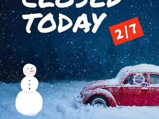 Closed Sunday, 2/7