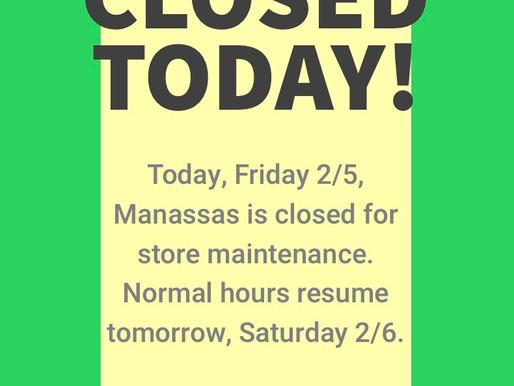 Manassas Closed 2/5