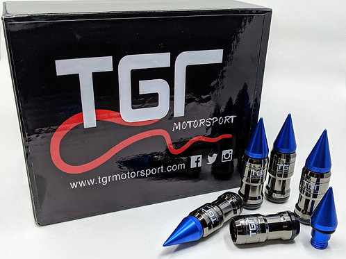 Spike Gunmetal Royal Blue Wheel Nut Set