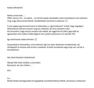 Fenyvesi-Kisteleki Orsolya átadta a stafétabotot