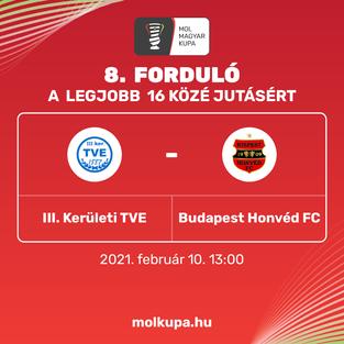 Szerdán a Budapest Honvéd FC csapata érkezik hozzánk - MOL Magyar Kupa
