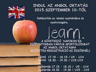 Elindul az angol oktatás a III. kerületi TVE-ben (előzetes regisztráció az edzőknél)
