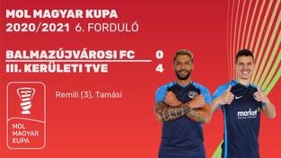 MOL Magyar Kupa  BALMAZÚJVÁROSI FC - III. KERÜLETI TVE 0 - 4
