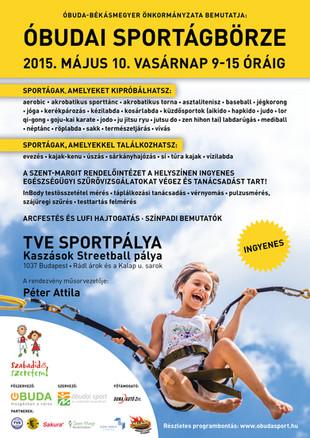 Az Óbudai Sport Nonprofit Kft. idén is megrendezi az Óbudai Sportágbörzét 2015. május 10-én, vasárna
