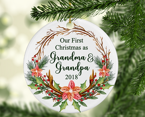 Our First Christmas as Grandma and Grandpa Ornament