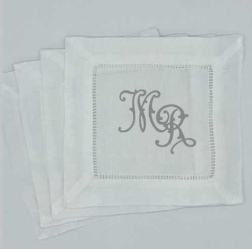 Set of 4 Ella Flourish Cocktail Napkins