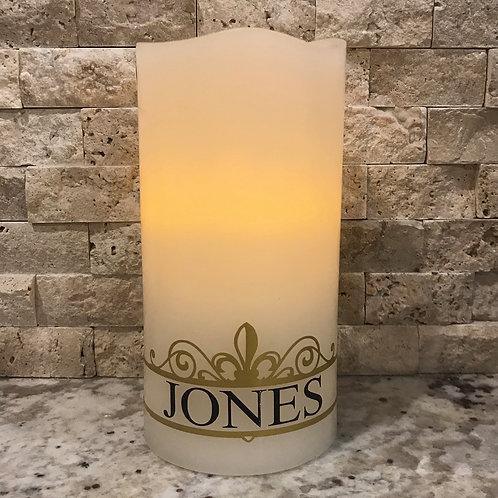 Gold Fleur-de-lis Name Candle