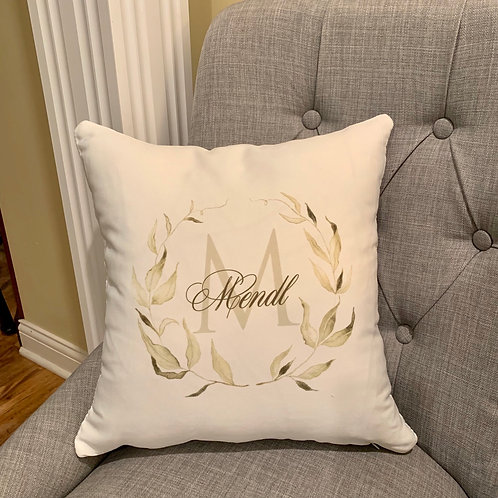 Watercolor Laurel Leaf Pillow