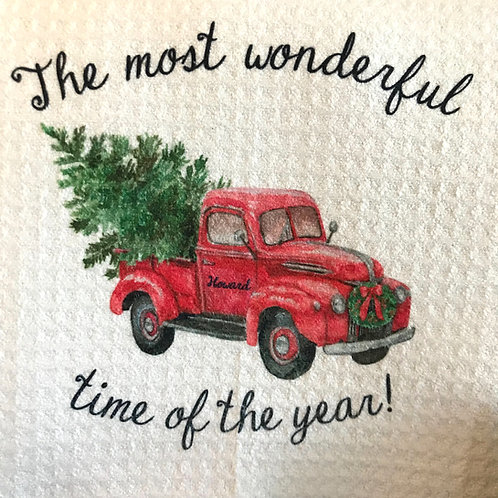 Vintage Red Truck Kitchen Towel