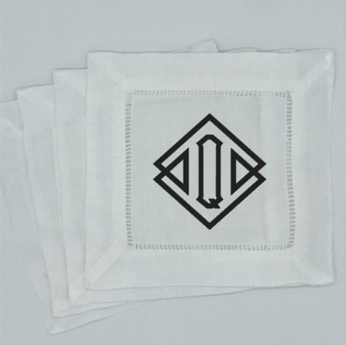 Set of 4 Diamond Monogrammed Cocktail Napkins