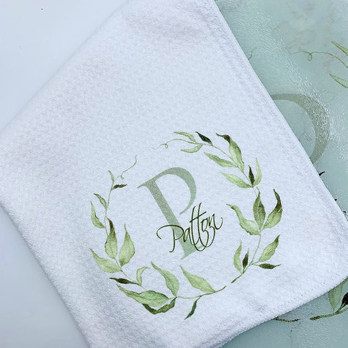Watercolor Laurel Leaf Towel