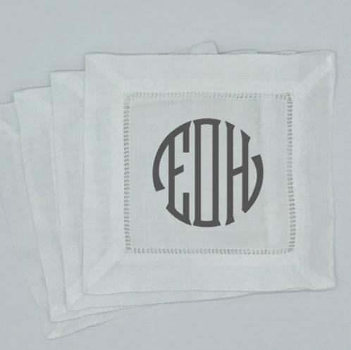 Set of 4 Seal Circle Monogrammed Cocktail Napkins