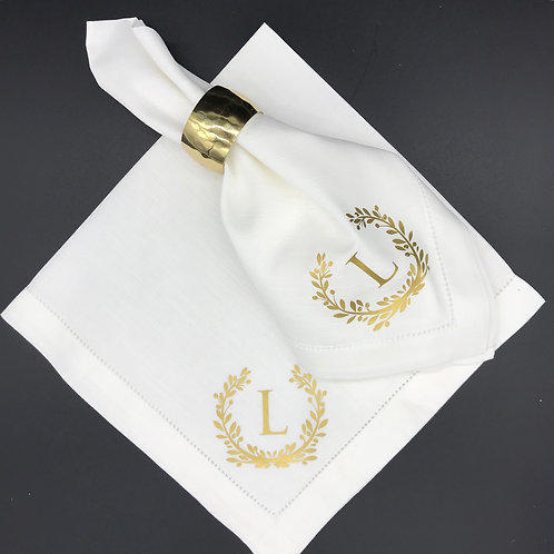 Elegant Personalized Laurel Wreath Dinner Napkin