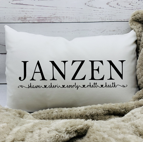 Last Name with Family Members Pillow