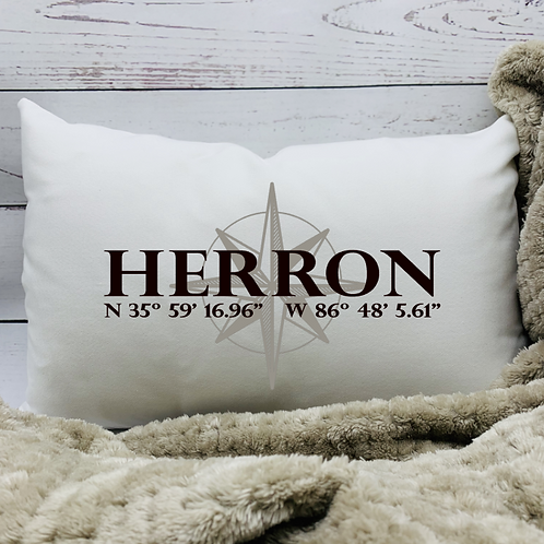 Compass with Map Coordinates Pillow