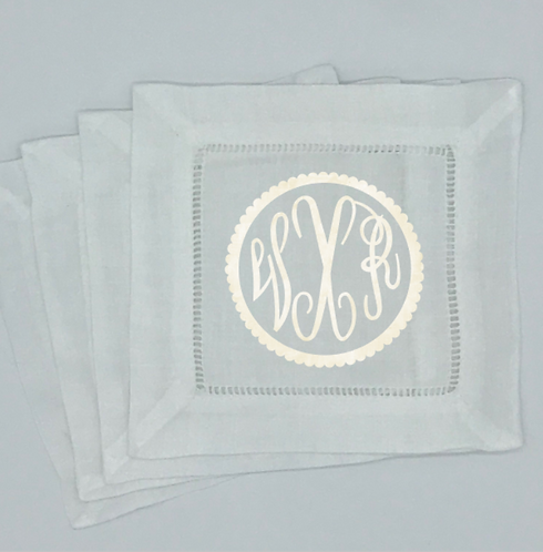Set of 4 Fancy Circle Monogrammed Cocktail Napkins