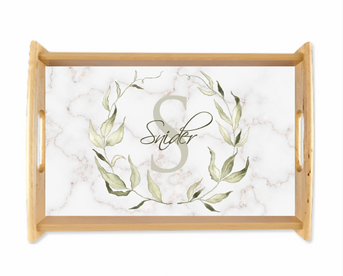 Watercolor Laurel Leaf Serving Tray