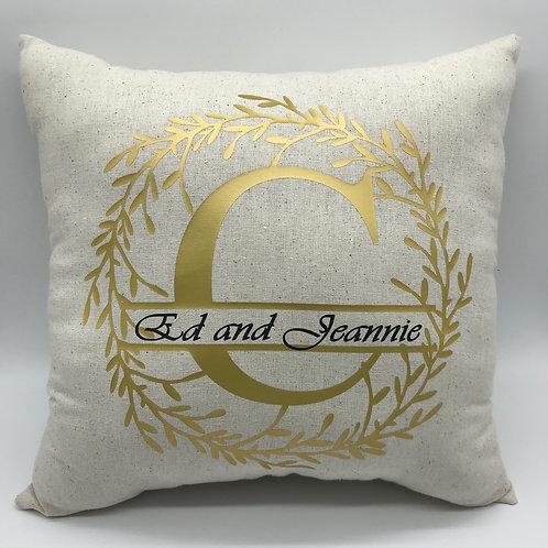 Gold Wreath Split Letter Pillow
