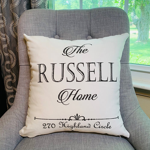 Name Pillow with Address