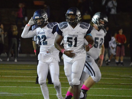 Cranbrook blanks University Liggett 41-0; marches on to Catholic League Championship at Ford Field.