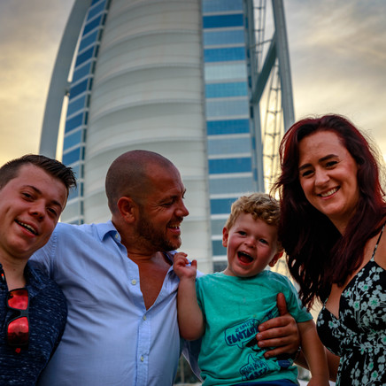 Family Portrait Photo Next to Burj Al Al Arab In Dubai