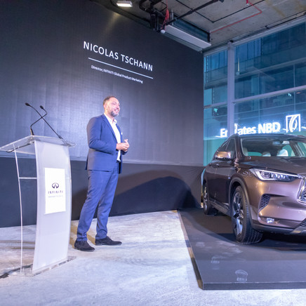 Nicholas Tschann Talking At The Launch Party Of The Infiniti GX50
