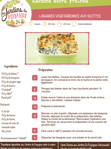 Lasagne de blettes des jardins du pu