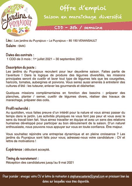 Offre d'emploi - Juillet à Septembre.pn