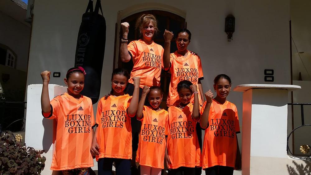 KH Mezek with her girls boxing club in Luxor Egypt memoirist.org