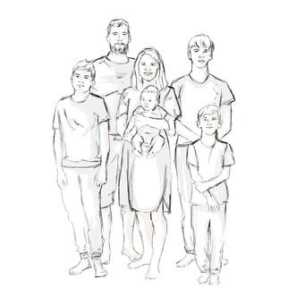 Pere karikatuur, mis oli sünnipäeva kingitus perele.