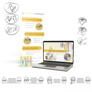 Nägemisuuringud  stend, veebilehe taust, kleebised ja illustreerivad pildid veebilehe jaoks