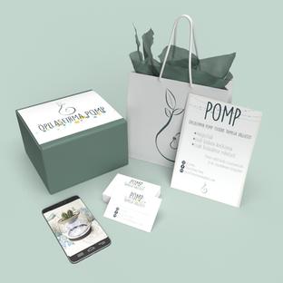 Õpilasfirma Pomp  logo, visiitkaardi kujundus ja plakat