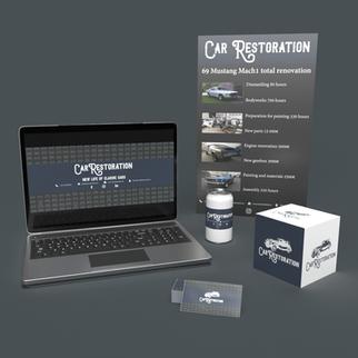 Car restoration logo uuendus, plakat, FB päise pilt ja visiitkaardi kujundus
