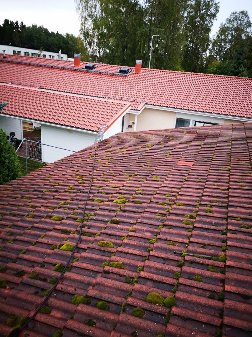 Taustalla pesty katto samasta taloyhtiöstä